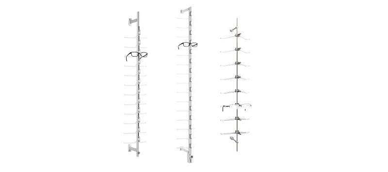 eyewear displays, frame display rods, optical space design, ennco.com