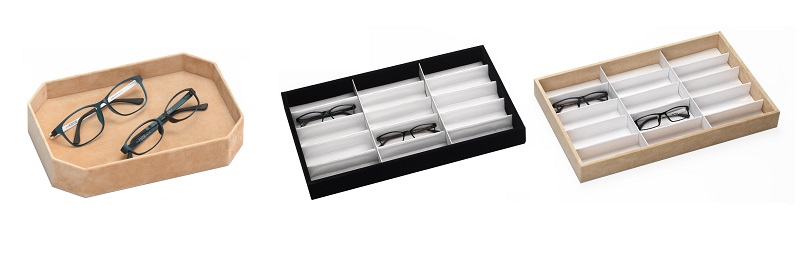 optical frame display, eyewear display, frame trays