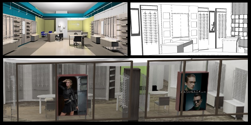 optical space design, eyewear displays, office remodel, optical office design