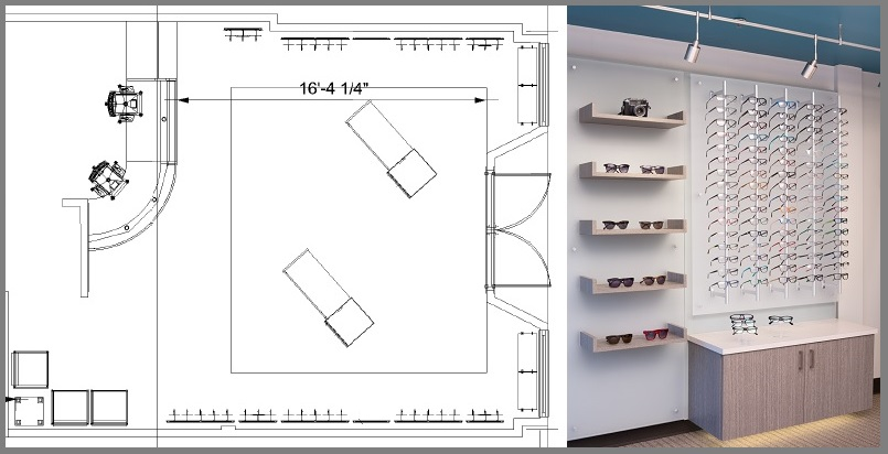 optical space design, eyewear displays, office remodel, optical office design