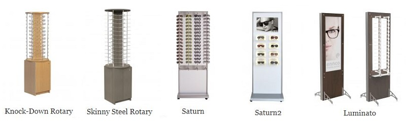 array of Ennco freestanding optical displays, eyewear displays, frame display systems