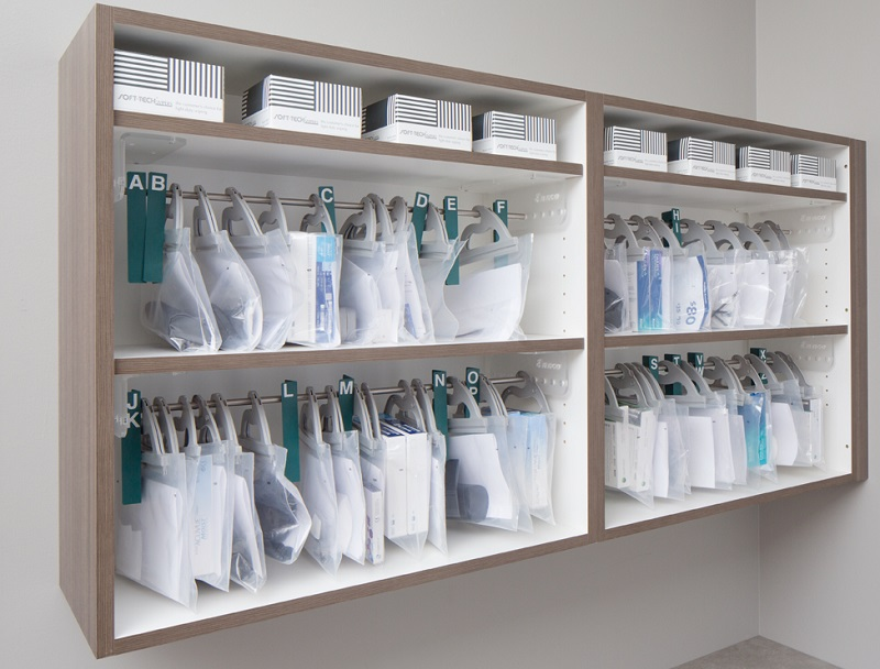 contact lens bag storage, eyewear frame order storage, eyewear organization, lab storage