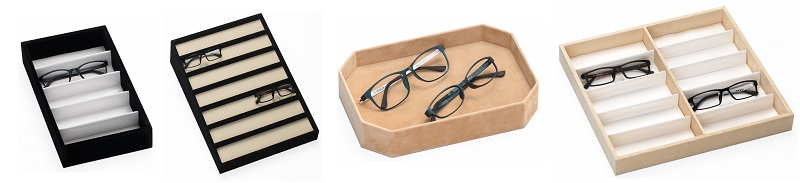 array of optical frame trays, eyewear presentation trays, sunglass storage